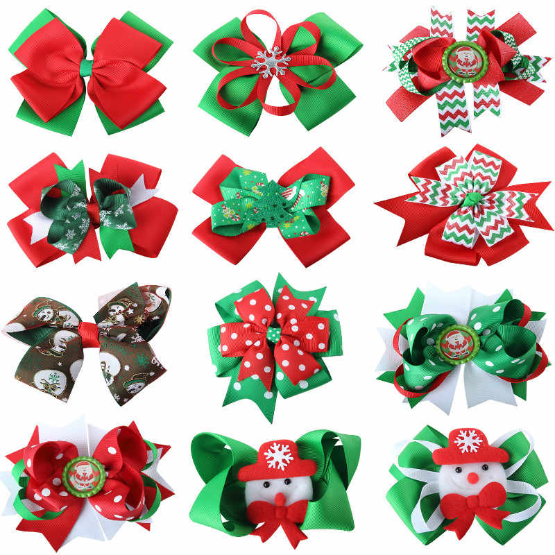 Baby Girls Christmas Bows Hair Clips Boutique Hair Pin butterfly knot Christmas Bowknot headdress Kids Hair Accessories Holidays