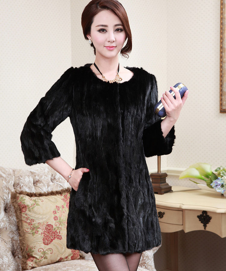 Womens Three Quarters Sleeves Long Section Faux Mink Fur Coats Large Size Casual Black Winter Autumn Round Neck Fur Jackets D358