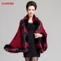 2017 Nova Moda Faux Fox Fur Cape Casaco de Lã Cashmere casaco de lã Das Mulheres Poncho Camisola de Malha Mulheres Imitação fox fur xaile manto