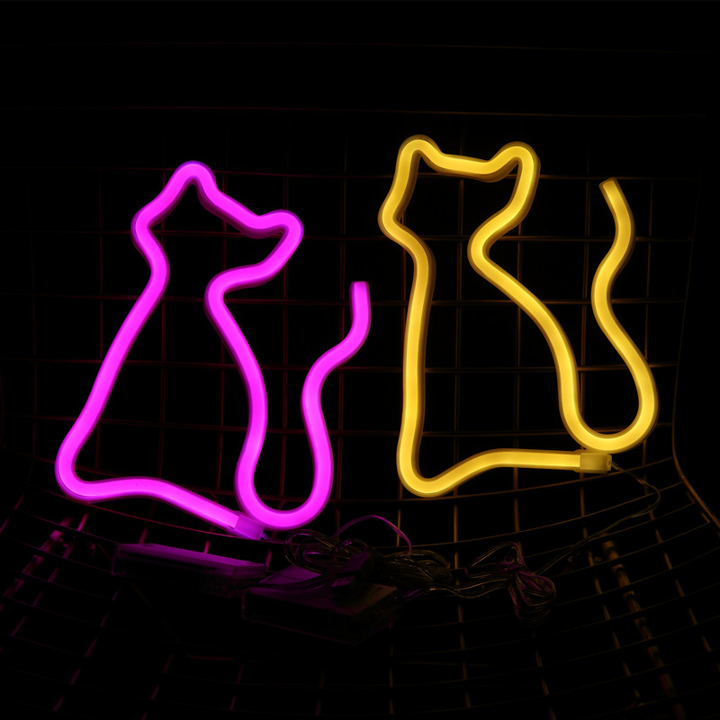 Hohappyme Lighted Neon Signs Cat Children Room Decoration