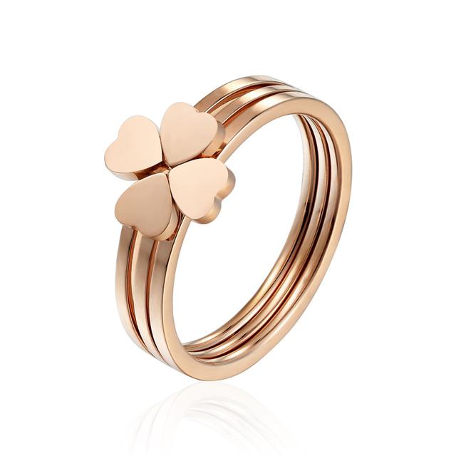 Classic Design Three Heart Ring Combination Stainless Steel Rings For Women Rose