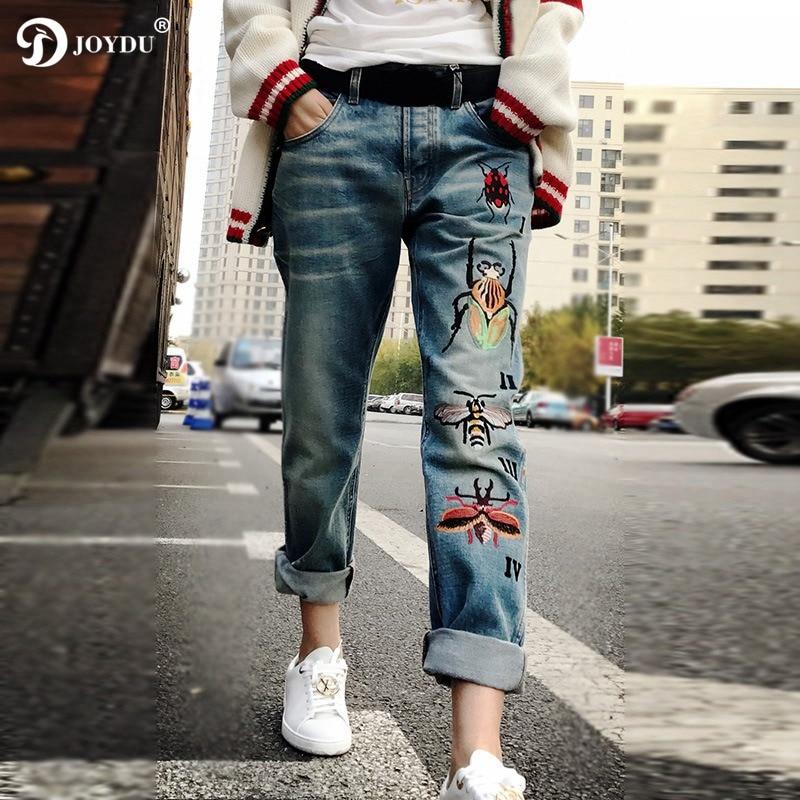 JOYDU Boyfriend Denim   Jeans   For Women 2018 Runway Designer Bee Insect Embroidery High Waist Street Vintage   Jeans   Female Pants