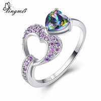 Lingmei Love Heart Women Ring Wedding Multicolor & Purple & Red Zircon Silver Ring Size 6 7 8 9 Fashion Birthstone Jewelry