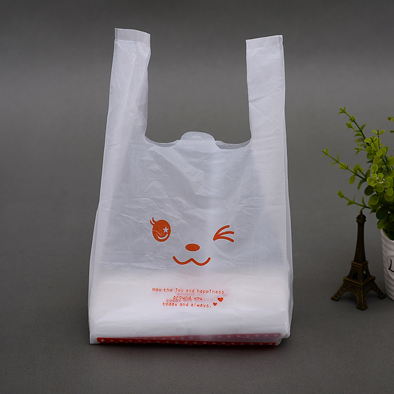 50pcs/lot 32x55cm Free shipment Size supermarket shopping bag vest bag plastic bags with handle snack boutique clothing bag ...