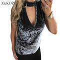 Z&KOZE 2017 Spring Velvet Tank Tops Women Sexy Sleeveless T-shirt Halter V Neck Plus size S-3XL Solid tank women regata feminina