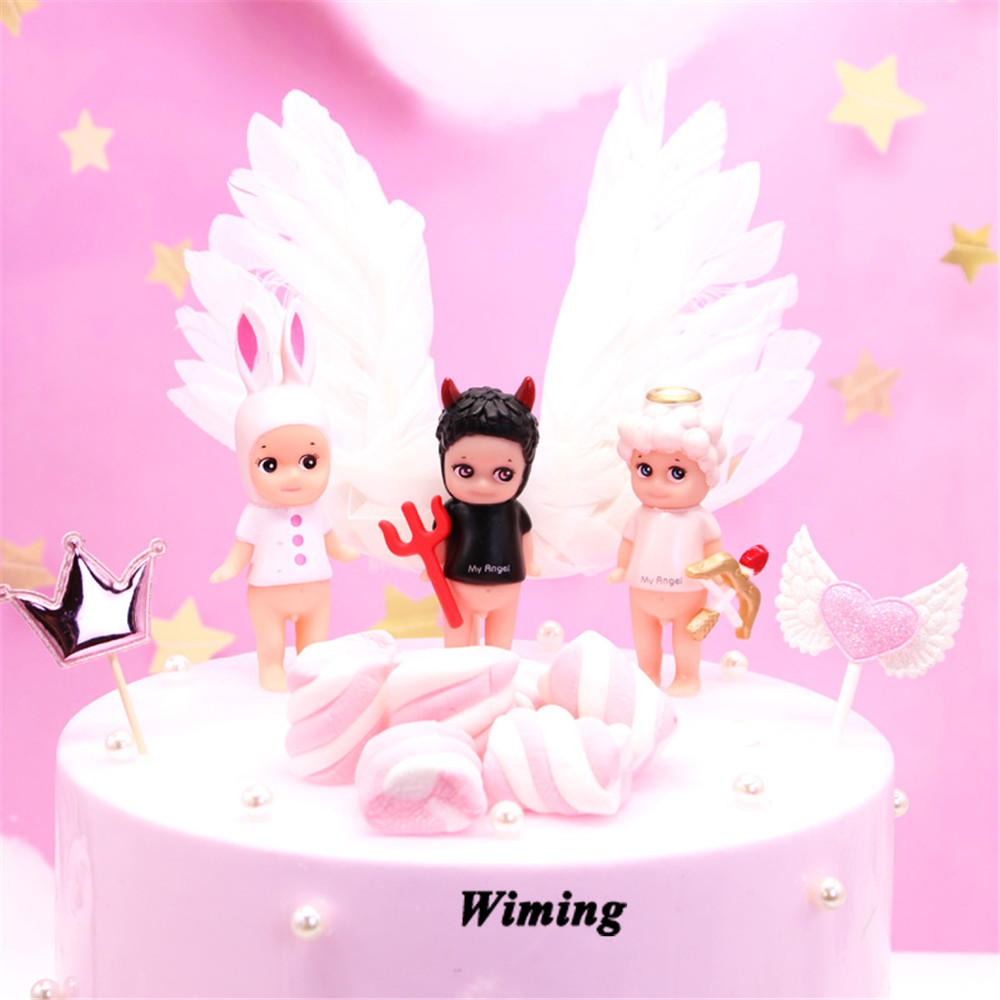 little angel cupcake toppers cake decorating children kids baby toys novelty gifts decor birthday party topper