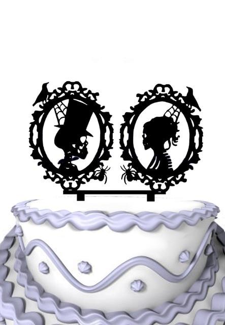Acrylic Halloween Wedding Cake Decoration  Skeleton Silhouette Wedding Cake  Topper
