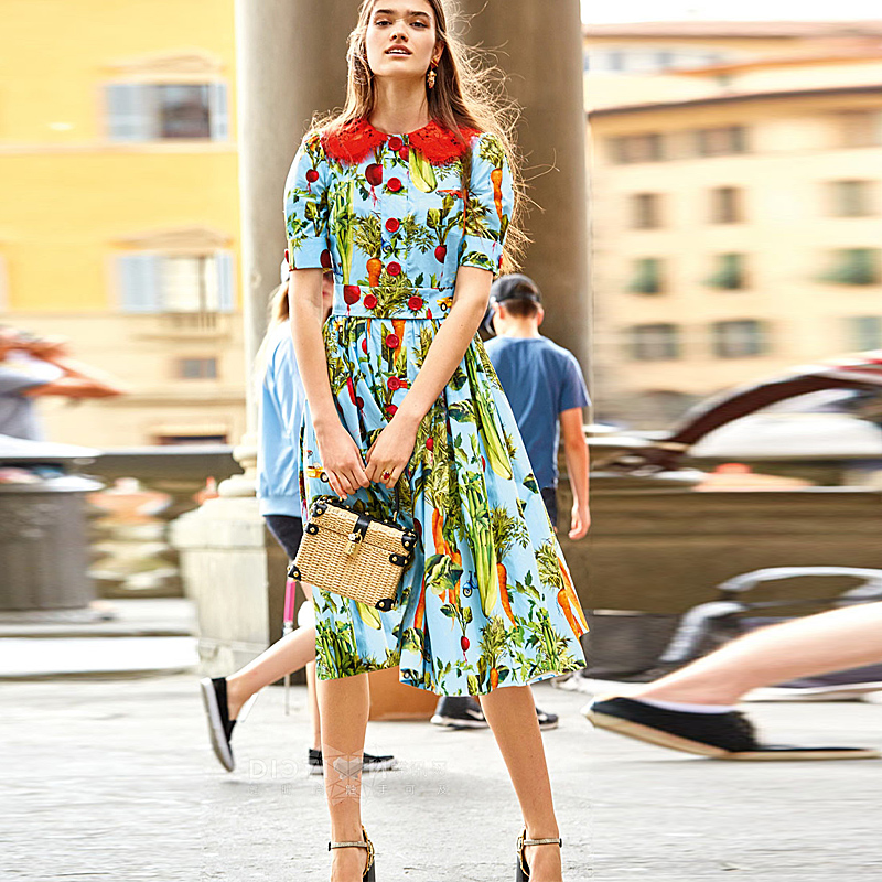 Milan Runway High Quality 2018 Spring Summer New WomenS Party Fashion Boho Beach Vintage Elegant Vegetable Print Dress
