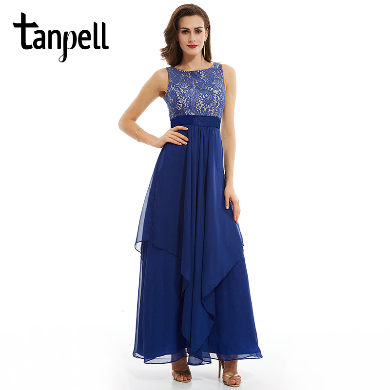 Tanpell scoop evening dress cheap blue sleeveless a line ankle length dresses women prom draped zipper