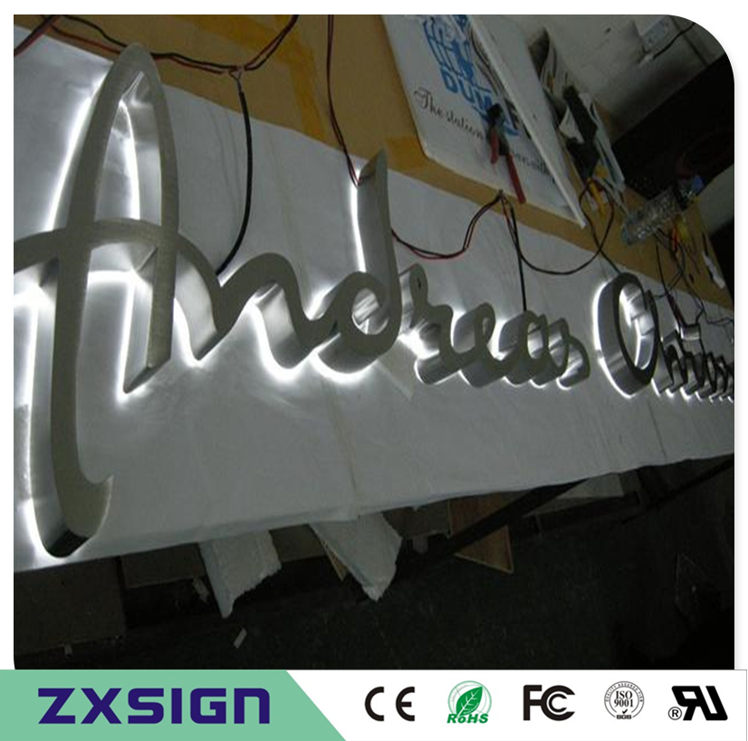 Factory Outlet Outdoor Stainless Steel Sign, Custom Backlit Metal Company Logo Mold, Halo Lit Led Shop Signs