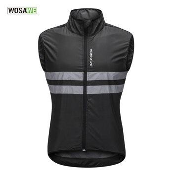 WOSAWE светоотражающие жилеты без рукавов ветрозащитные Рубашки MTB дорожный велосипед трикотаж Топ цикл костюмы ветровка