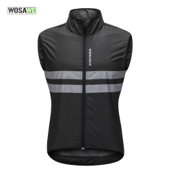 WOSAWE Reflective Cycling Vests Sleeveless Windproof Shirts MTB Road Bike Bicycle Jersey Top Cycle Clothing Wind Coat