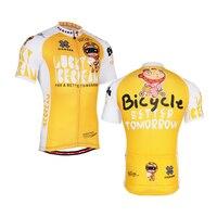 فريق 2016 الرجال أصفر الدراجات جيرسي قمم البوليستر الصيف نمط قصيرة الأكمام دراجة الملابس حجم s-3xl