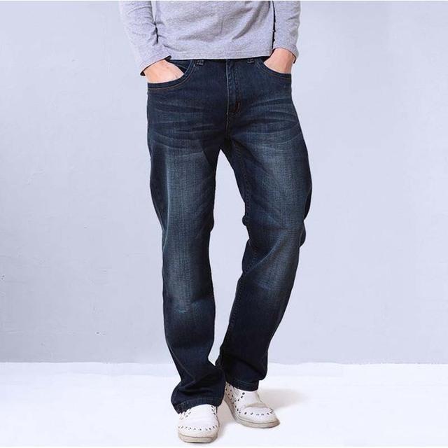 2016 nueva Loose Jeans Straight masculino pantalón de mezclilla más el tamaño 27-48 algodón Leisure CARGO hombres Bottoms pantalones largos
