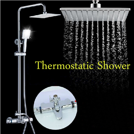 Luxury High Quality Bathroom Chrome Rainfall Shower Set, Thermostatic Shower Faucet Bath & Shower Faucet Set, Wall Mounted chrome bathroom thermostatic mixer shower faucet set dual handles wall mount bath shower kit with 8 rainfall showerhead