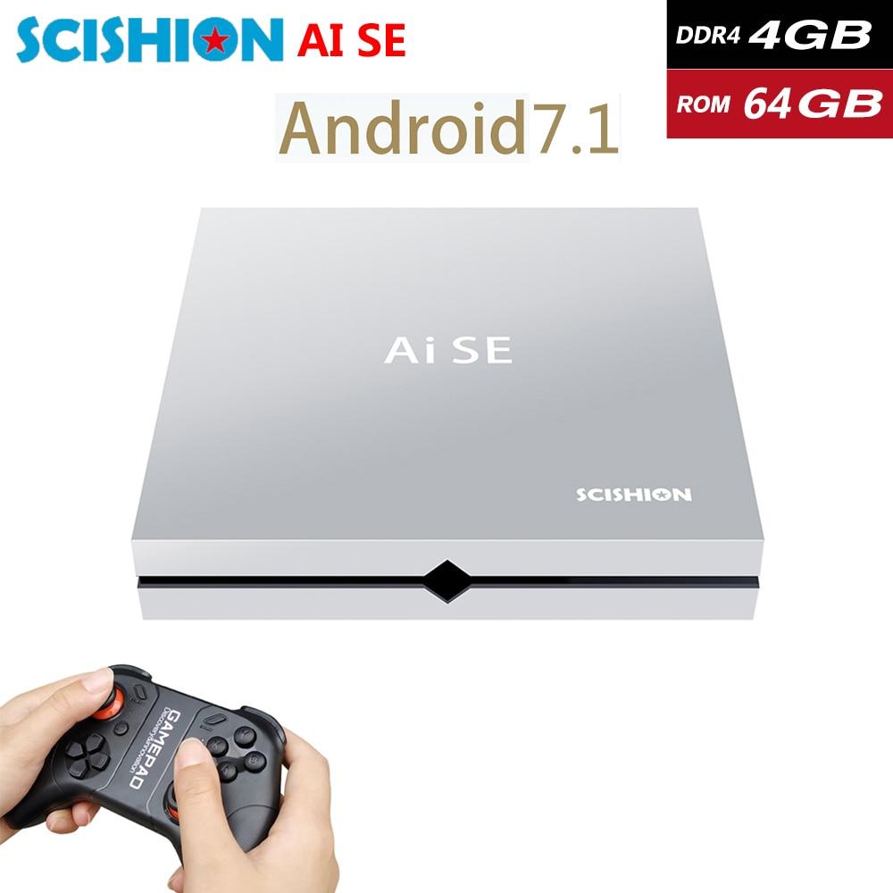 AI SE DDR4 4GB RAM 64GB ROM RK3399 Smart Android 7.1 TV Box 2.4G 5G WiFi bluetooth Game Box met Gamepad 4K HD Media Player-in Set-top Boxes van Consumentenelektronica op  Groep 1