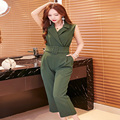 New Arrival Ladies Jumpsuits Women turn-down collar slim elegant Jumpsuits with Belt