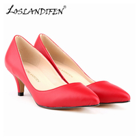 LOSLANDIFEN Classic Sexy Low Med Heels Shoes Women Soft Leather Pumps Spring Wedding Shoes Pumps Red Black Pumps 678 1MA