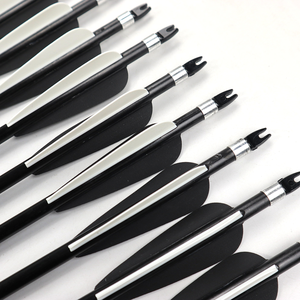 12Pcs 80cm Spine 500 Fiberglass Arrow OD 8mm With Nock Proof / Changeable Arrowhead For 30-80lbs Compound / Recurve Bow Hunting