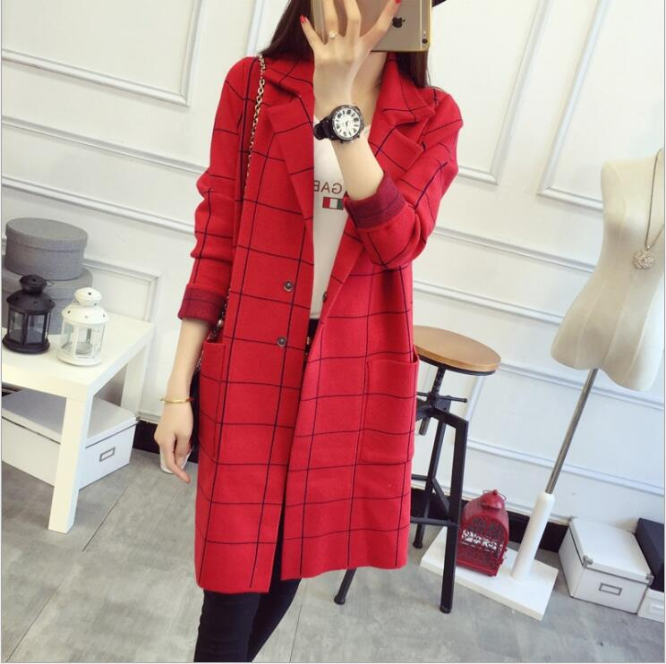 Spring Autumn Women Plaid Long Trench Coat Cardigans Fashion Slim Loose Long Sleeve Windbreaker
