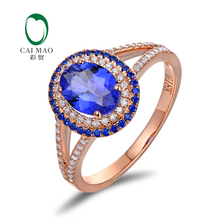 Caimao Jewelry 18k Gold 1.32ct Tanzanite 0.44ctw Natural Diamond & Sapphire Engagement Ring