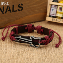 JINSE Cross PU Leather Bracelets Mens Brown Rope Guitar Charm Accessories Bracelet Color Send Random DF021
