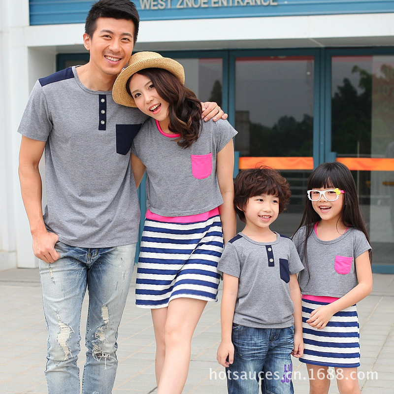 2016 Family Matching Outfit Summer Family Look Matching Clothes Mother Daughter Striped Dress Father Son Short