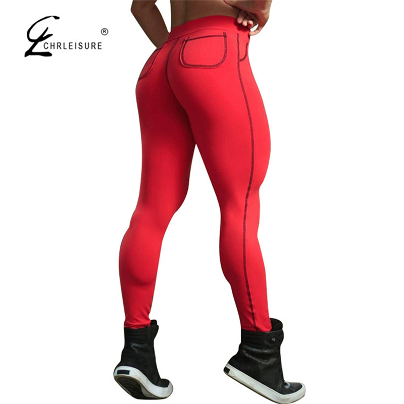 CHRLEISURE Fashion Push Up Leggings Women Casual Skinny Bodybuilding Leggins Workout Legging Pockets Trousers 4 Colors S-XL