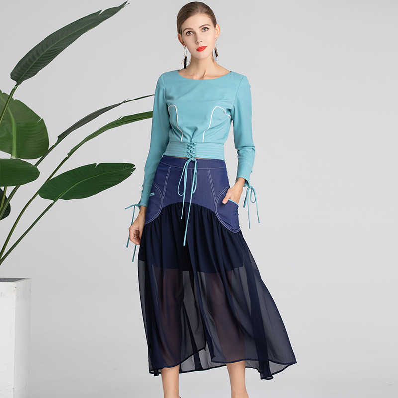 2019 primavera bonito 2 piezas conjuntos de Mujeres de alta calidad moda bonita manga completa o_cuello blusa + faldas trajes dulces