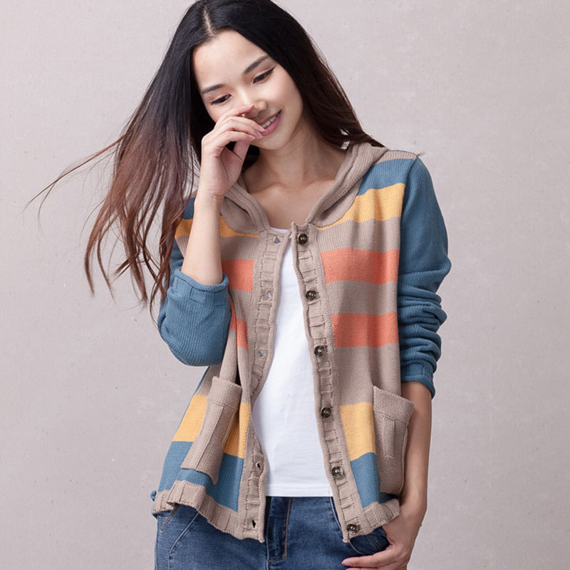 Women knitted coat with a hood 2019 spring and autumn casual cardigan button short female loose