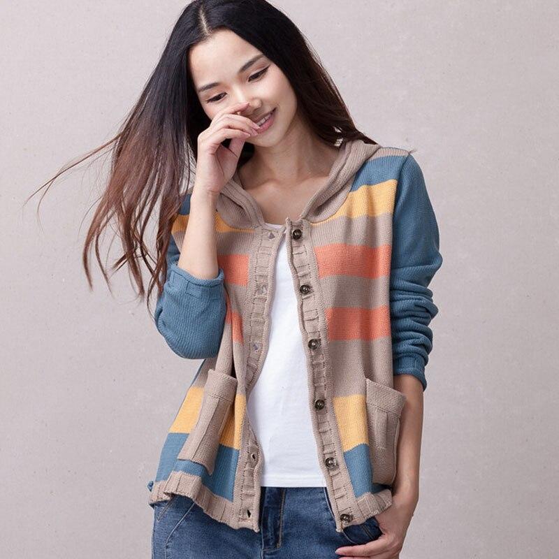 Femmes tricoté manteau avec un capuchon 2019 printemps et automne casual cardigan bouton court femelle lâche mince chandail Coréenne style