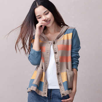 Women knitted coat with a hood 2019 spring and autumn casual cardigan button short female loose thin sweater Korean style - DISCOUNT ITEM  13% OFF All Category