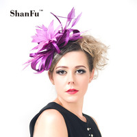 2015 Women Satin Feather Fascinators Large Flower Dress Hat Fascinator For Wedding Cocktail Purple Pink With