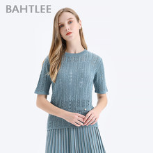 BAHTLEE Summer women Lace Knitted Pearl Sweaters Short sleeves O-neck Merino Wool Pullovers T-shirt Jumper(China)