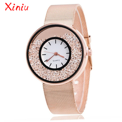 Marca superior de luxo feminino aço inoxidável rosa ouro prata relógio de pulso senhoras luxo strass relógio de quartzo relogio feminino novo