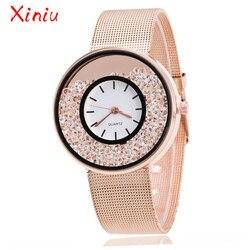 Mulheres superiores marca de luxo de Aço Inoxidável Rosa de Ouro Prata Relógio de Pulso De Luxo Senhoras Strass Relógio de Quartzo Relogio feminino Novo