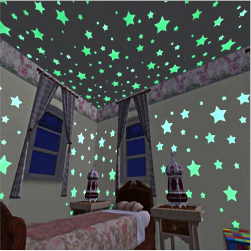 40/70/100pcs Luminous Star Stickers Glow In The Dark Toys Bedroom Sofa Fluorescent Painting Toy PVC Stickers For Kids Room