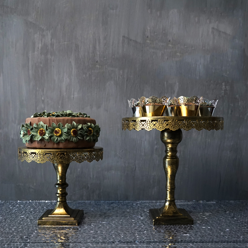 Урожай золотий торт стоїть залізний металевий кекс дисплей весільний декор для посуду / вечірки 10 '' / 12 '' інструмент для випічки
