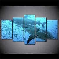 5 개 블루 깊은 바다 동물 포스터 큰 상어 그림 거실 장식 현대 캔버스 벽 예술 HD 인쇄 사진