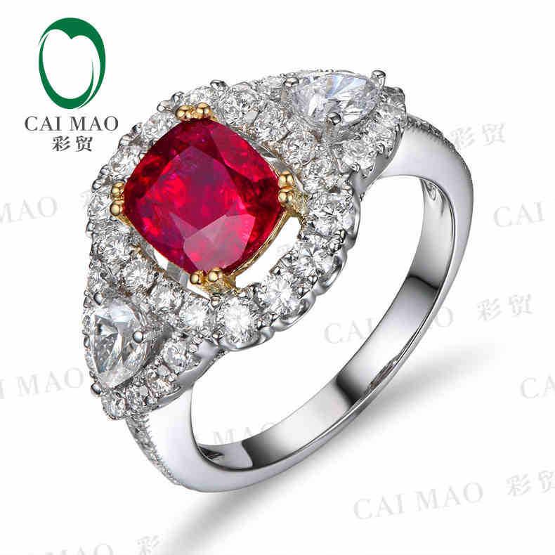 Caimao 18kt/750 الذهب الأبيض 1.38 قيراط الطبيعية الدم الأحمر روبي & 1.26 ct كامل قص الماس المشاركة gemstone عصابة المجوهرات