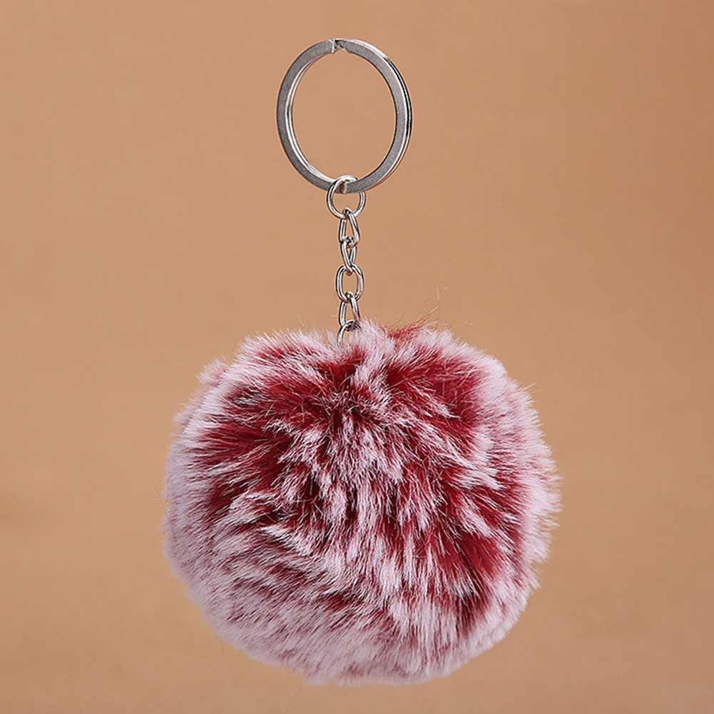 Nette Pompom Künstliche Keychain Frauen Auto Tasche Schlüssel RingTrendy Flauschigen Gradienten Haar Ball Schlüssel Kette Ringe Anhänger