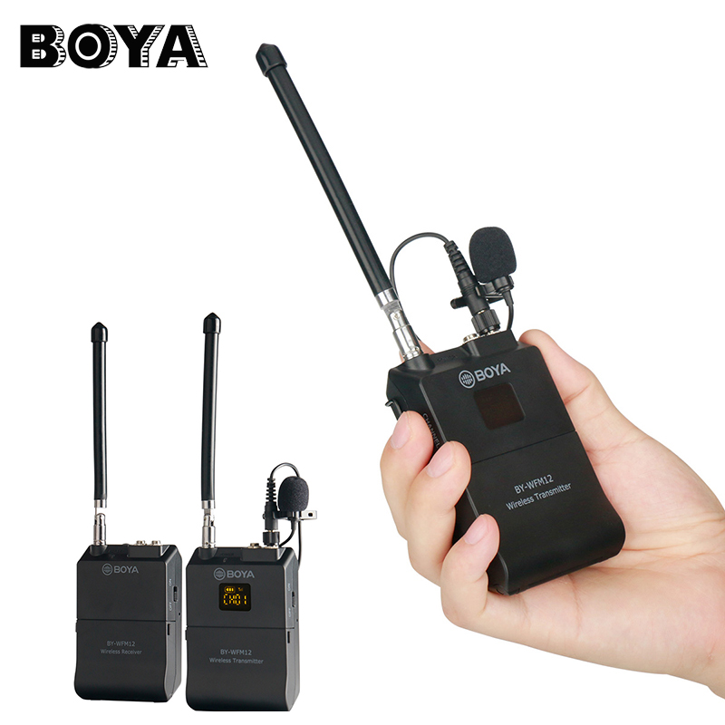 BOYA BY-WFM12 Professional VHF Wireless Microphone System for iPhone Canon DSLR Camcorder Audio Recorder Interview Recording boya by wfm12