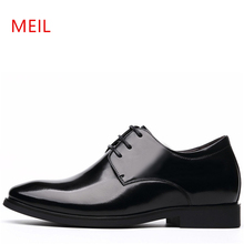MEIL Brand Height Increasing 6CM Man Pointed Toe Dress Shoes Mens Genuine Leather Wedding Oxford Formal Men 2019