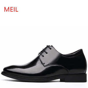 MEIL Brand Height Increasing 6CM Man Pointed Toe Dress Shoes Mens Genuine Leather Wedding Shoes Oxford Formal Shoes Men 2019 - DISCOUNT ITEM  52% OFF Shoes