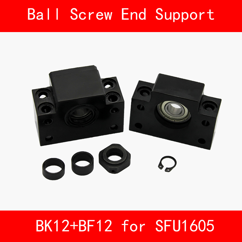 BK12+BF12 Set : 1 pcs BK12 and 1 pcs BF12 for SFU1605 Ball Screw End Support CNC parts 3d print BK/BF12 линейный подшипник cys 1 bk12 bf12 sfu1605 ballscrew cnc xyz bk12 bf12