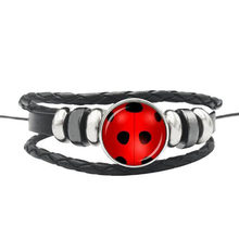 Miraculous Ladybug Bracelet Lady Bug & Black Cat Sign Glass Gem Leather Handmade Weave Jewelry Children Birthday Party Gift(China)