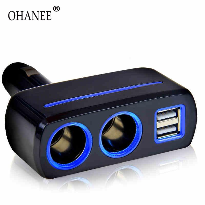 OHANEE 12V And 24V 80w 3.1A  Universal Car Cigarette Lighter Sockets Splitter Usb Cell Phone Charger Power Adapter Outlet
