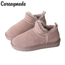 Careaymade-Snow boots winter skin wool new models,Head layer short tube low cotton boots, all kinds of lazy bread shoes,5 colors