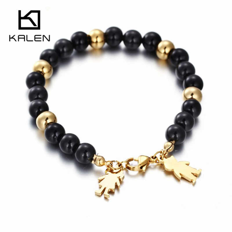 Kalen Ethnic Stainless Steel Cartoon Boy & Girl Charm Bracelets Gold & Black Color Plastic Beads Elastic Bracelets Drop Shipping