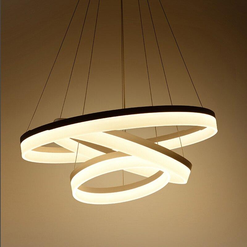 LED Ring Light Circles Acrylic Modern Pendant Light Dining Living Room Cerchio anello lampadario lighting lamp lamparas modernas circle